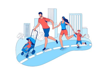 Family running marathon together in the city, parents and children take part in race outdoors, cartoon vector flat illustration with people jogging