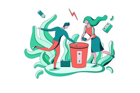 Battery recycle concept, disposal of batteries into special garbage bin, people clean environment, ecology flat cartoon environmental vector illustration, man put trash into container Banco de Imagens - 142836778