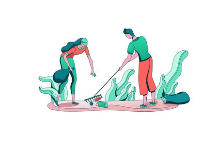 Park cleaning people with bag, volunteer picking and sorting garbage, team reduce plastic pollution of environment, recycle trash, flat cartoon vector ecology illustration