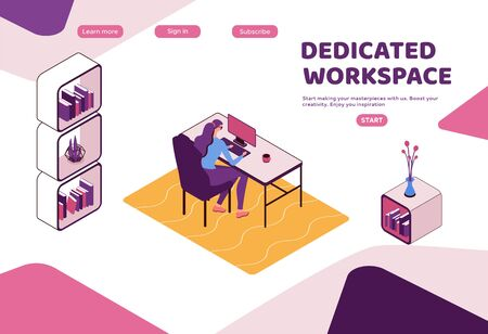 Dedicated workplace landing page template, Freelancer working in office, people with laptop in coworking space, isometric modern interior design, graphic vector illustration Ilustração