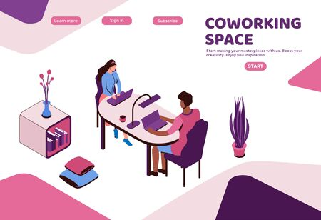 Coworking space interior, creative and office people work in open workplace, freelancer with laptop, modern environment, 3d isometric loft style interior design, graphic vector illustration