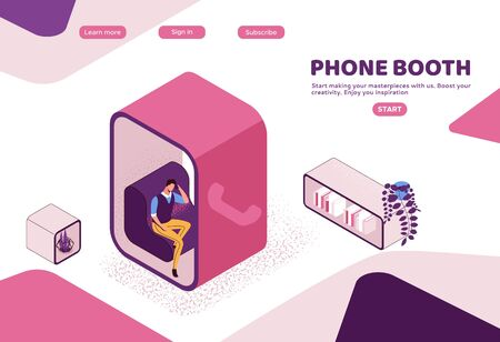 Phone booth isometric vector illustration, man in conversation room, individual workspace, modern office people, graphic vector illustration, landing page template