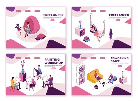Freelancer with laptop at office workplace, creative people in coworking space, isometric modern interior design, graphic vector illustration, landing page templates set in violet and pink colors Ilustração