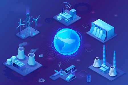 Smart grid 3d isometric infographics, blue neon concept with solar panels and electricity pole, nuclear and thermal power plant, hydroelectric power station, transport system, globe 3d isometric icon, Ilustração