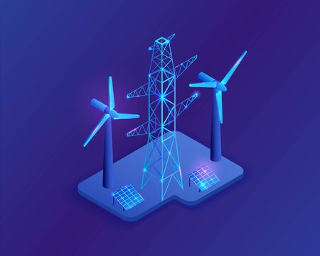 Electric pole and solar panel isometric 3d icons, neon blue energy symbols Ilustração