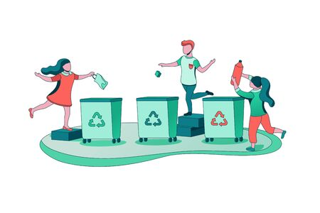 Garbage sorting concept, kids throwing trash into container, ecology vector flat illustration, cartoon children clearing litter, recycle waste into dustbin