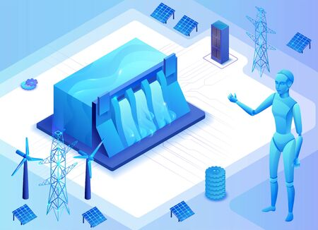 Hydroelectric power plant isometric vector illustration, 3d blue neon electric energy station Vettoriali