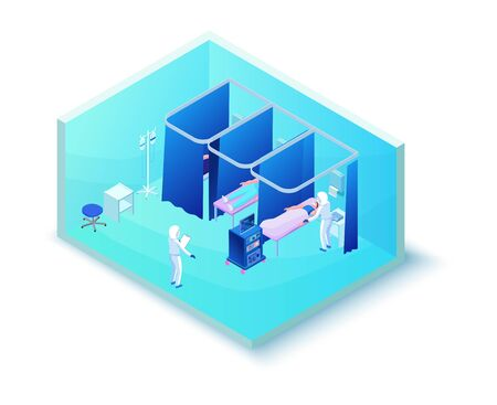 Medical hospital room for treatment of 2019-nCoV Coronavirus patients, doctor in protective suit, clinic isometric interior, therapy, pulse control, 3d isometric illustration