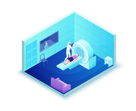 Mri scanning of 2019-nCoV Coronavirus patient, healthcare system, isometric 3d vector illustration with magnetic tomograhpy technology, doctor in white medical face mask scan man with flu Ilustração