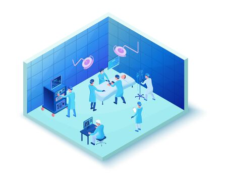 Surgery operating room, smart surgical technology, isometric 3d vector illustration with medical treatment, doctor watching x-ray with pneumonia caused by 2019-nCoV Coronavirus infection Ilustração