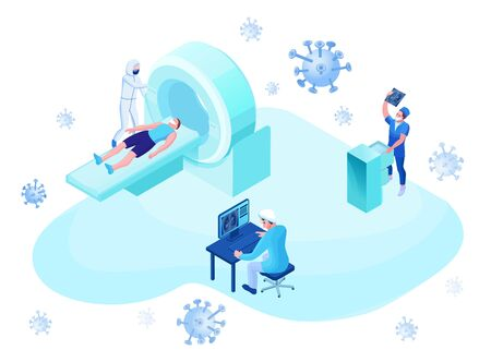 Mri scanning of 2019-nCoV Coronavirus patient, isometric 3d vector illustration with magnetic tomograhpy technology, doctor in white medical face mask watching x-ray with pneumonia