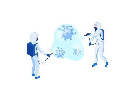 Disinfection of Coronavirus to prevent 2019-nCoV contamination, man in hazmat suit and protective face mask spraying disinfectant on virus particles, isometric vector 3d illustration Ilustração