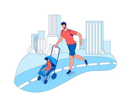 Father running marathon with baby in stroller in the city, parent and kid take part in race outdoors, cartoon vector flat illustration with people jogging