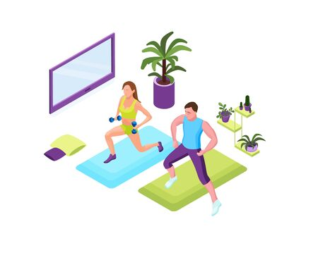 Training at home people, man and woman doing fitness in domestic room during quarantine period, 3d isometric illustration of sport exercises Ilustração