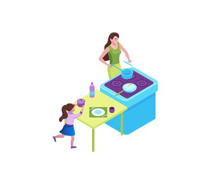 Family cooking food at the kitchen, mother and girl stay at home and baking, 3d isometric vector illustration of indoor activity during quarantine time Ilustração