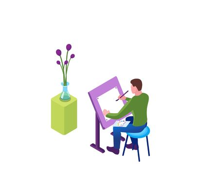 Painting at home, man draws still life on easel, 3d isometric vector illustration of indoor activity and creative hobby during quarantine time