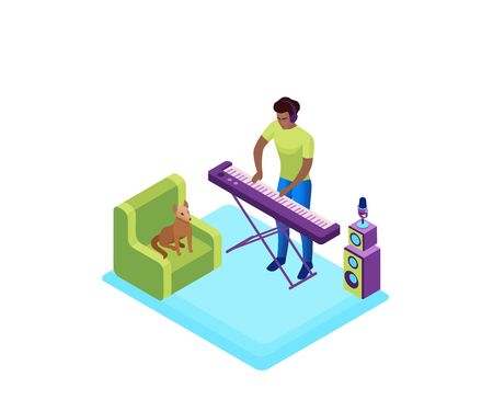 Man playing synthesizer, musician with piano, 3d isometric vector illustration of indoor activity and creative hobby during quarantine time