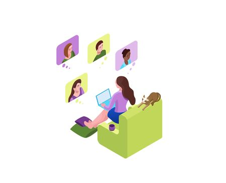 Girl communicates with colleagues, collective virtual meeting or group video conference, woman chatting with friends by online videochat, videoconferencing and remote work, 3d isometric illustration