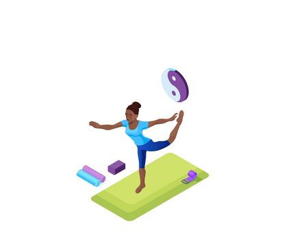 Home yoga with african woman doing physical fitness exercise, isometric 3d isometric vector illustration with sport training, relaxation and meditation in quarantine time and isolation period