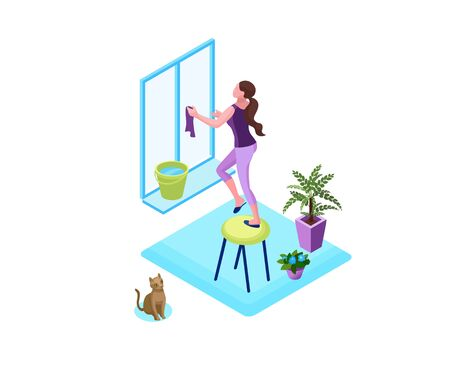 Woman washing window with a duster, clean up house concept, 3d isometric vector illustration of indoor cleaning activity during quarantine time and isolation period
