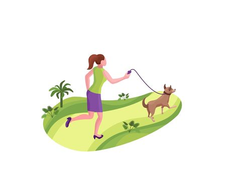 Girl walking the dog at the park, 3d isometric vector illustration with a person and a pet outdoors, woman with domestic animal on a leash Ilustração