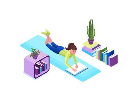Girl reading book, stay home and safe concept, cartoon character remotely learning, distant education 3d isometric vector illustration