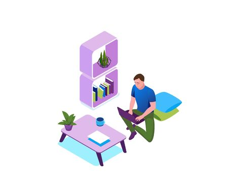 Work from home and stay safe concept, man freelancer working on laptop indoors, people character in quarantine time and isolation period, 3d isometric vector illustration