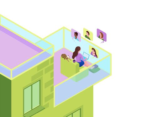 Girl communicates with colleagues on the balcony of residential building, collective virtual meeting, group video conference, woman chatting with friends by online videochat, 3d isometric illustration