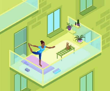 Home yoga with african woman doing physical fitness exercise on the balcony of an apartment building, isometric 3d isometric vector illustration with sport training, relaxation and meditation