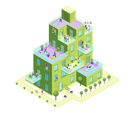 Apartment building exterior with people on balconies stay home and safe, residential house with characters communicating online neighbours, family cooking, girl reading, 3d isometric illustration