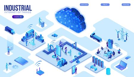 Industrial internet of things infographic illustration, blue neon concept with factory, electric power station, cloud 3d isometric icon, smart transport system, mining machines, data protection Ilustração
