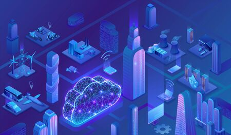 Smart grid city 3d isometric infographics, blue neon concept with solar panels and electricity pole, nuclear, thermal power plant, hydroelectric power station, transport system, 3d isometric icons Ilustração