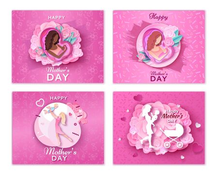 Mother's day origami paper art greeting card set in trendy style with frame, patterns, flowers, african woman holding baby silhouette, Colorful carved vector illustration