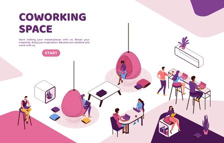 Freelancer working in office, people with laptop in coworking space at high tables, in hanging egg chair, sitting on sofa, modern interior design, graphic vector illustration Ilustração