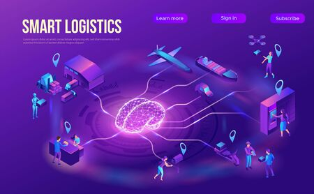 Isometric delivery service with truck at warehouse, smart logistics company illustration, shipment by plane, car, maritime transport, by postal drone, people receive parcel at packstation Ilustração
