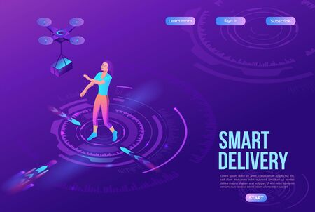 Drone delivering parcel to a girl, quadcopter, concept of delivery, box transportation innovation technolodgy, 3d isometric flat vector illustration, landing page template, ui design Ilustração