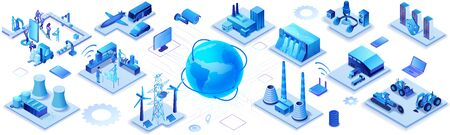 Industrial internet of things infographic horizontal banner, blue neon concept with factory, electric power station, globe 3d isometric icon, smart transport system, mining machines, data protection