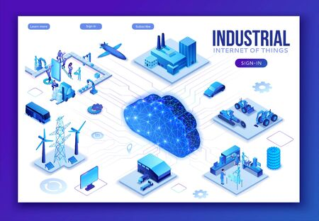 Industrial internet of things infographic illustration, blue neon concept with factory, electric power station, cloud 3d isometric icon, smart transport system, mining machines, data protection Çizim