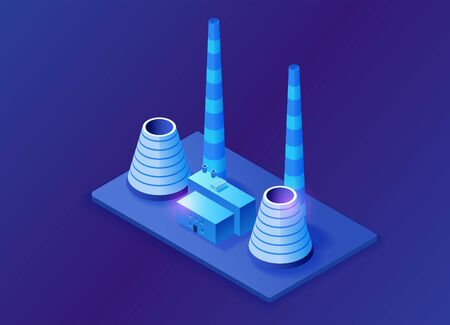 Thermal power plant 3d isometric concept, blue neon vector illustration of electric power station, electricity station building
