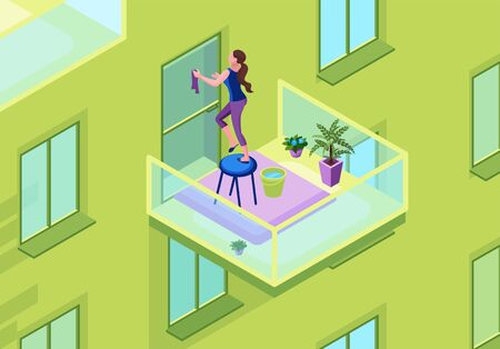 Woman washing glass door on the balcony with a duster, exterior of apartment building, clean up house and stay home 3d isometric concept, vector illustration of indoor cleaning during quarantine time Ilustração