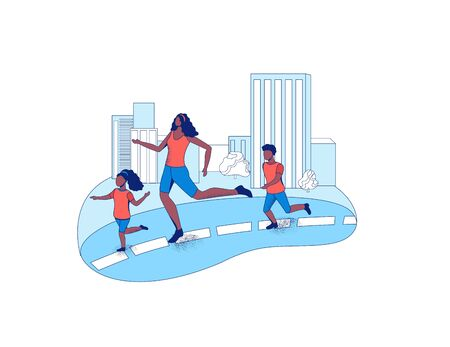 Mother running marathon with children in the city, parent and kids take part in race outdoors, cartoon vector flat illustration with people jogging
