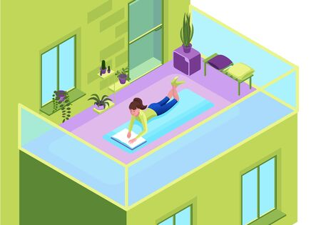 Girl reading book on the balcony of residential building, stay home and safe concept, cartoon character remotely learning, distant education 3d isometric vector illustration Ilustração