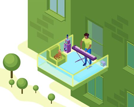 Man playing synthesizer on the balcony of residential building, musician with piano in neighborhood , 3d isometric vector illustration of indoor activity and creative hobby during quarantine time