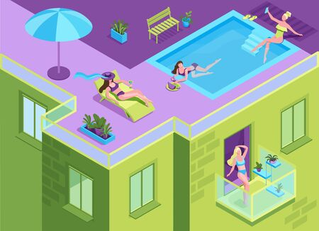Girl in bikini sunbathing on the roof of residential building during quarantine time, woman getting a suntan at the swimming pool of apartment house, stay home concept, 3d isometric illustration