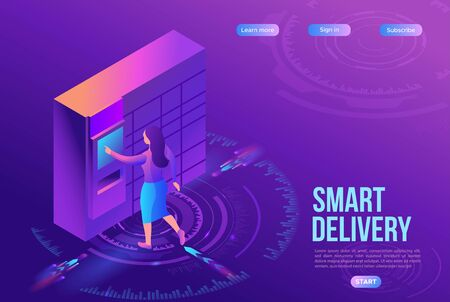 Girl receive parcel from packstation, post delivery concept, landing page template, ui design, 3d isometric vector illustration of postamat terminal, automated self service machine, purple background Ilustração