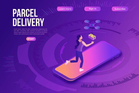 Drone delivering parcel to a girl, quadcopter, concept of delivery, box transportation innovation technolodgy, smartphone, 3d isometric flat vector illustration