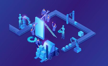 Assembly line isometric vector 3d illustration with people and robots, neon blue factory concept, plant with conveyor belt and workers putting package to forklift Ilustração
