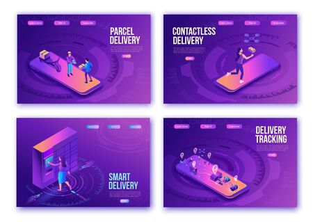 Isometric delivery service landing page set, ui design template, smart logistics company illustration, people receive parcel from delivery man, in packstation, by drone, in mailbox, mobile concept