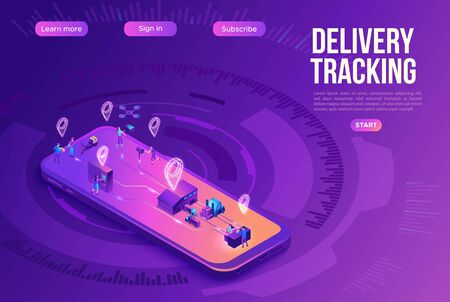 Isometric delivery service with truck at warehouse, smart logistics company illustration, smartphone, shipment by plane, car, landing page template, ui design, people receive parcel at packstation Ilustração