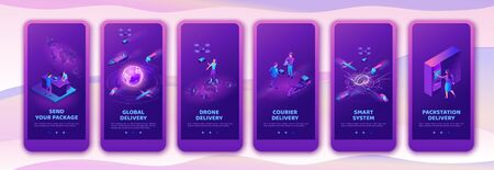 Isometric delivery service with truck at warehouse, mobile app template set, smart logistics company illustration, shipment by plane, car, by postal drone, people receive parcel at packstation Illustration